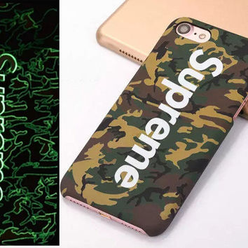 "Fashion Luminous Relief Phone Case Supreme Pattern Painted Phone Case Back For iPhone 7 6 6s 4.7"" Plus 7 6 6s  5.5"""