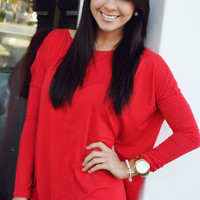 She Keeps It Simple Top: Red   Hope's