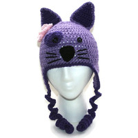 Childs cat hat, kitty beanie, toddler kitty cat hat girls purple hat earflap childs hat