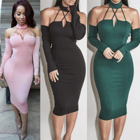 Summer 3-color Strapless Sleeves Bandages One Piece Dress [10604229199]