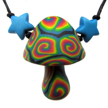 Mushroom pendant, millefiori psychadelic rainbow spiral patterns and plastic star beads on thin adjustable cord, handmade from polymer clay