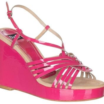 Dolce & Gabbana Women?s Pink Leather Strappy Wedges Sandals Shoes