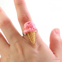 Scented Strawberry Ice Cream Ring - Food Jewelry