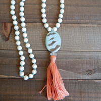 Long tassel necklace, white wood beads, seafoam agate, knotted necklace, bohemian style, beach boho, summer