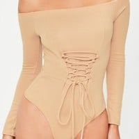 Missguided - Nude Corset Long Sleeve Bardot Bodysuit