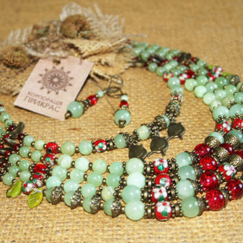 Traditional pale green red multi strand necklace with birds pendants Modern Ethnic Elegant Unique Ukrainian jewelry Gipsy Boho Folk Hippie