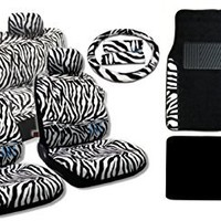 17 Piece Animal Print Seat Covers and Two Tone Floor Mats Gift Set (Full Animal Print, White Zebra)