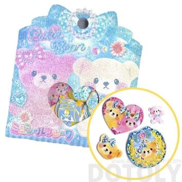 Pink Girly Teddy Bears and Gems Shaped Sticker Flake Seals From Japan | 71 Pieces