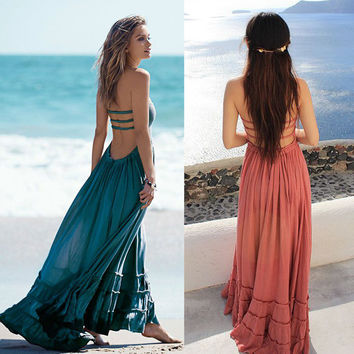 Summer Beach Dress Sexy Boho Chic Dresses Bohemian People Dress Bandage Long Blackless Cotton Women Party Hippie Vestidos Mujer