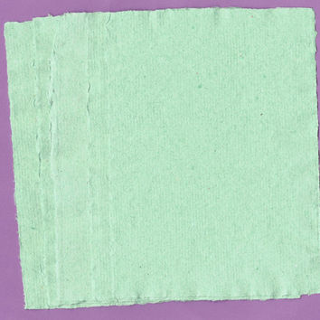 "Green Handmade Paper, Deckle Edge Paper, Recycled Paper,  Eco Friendly Paper, Scrapbook Paper, Textured Paper Writing Paper 5""x7"""