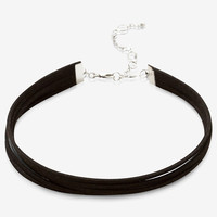 Slitted Faux Suede Choker Necklace
