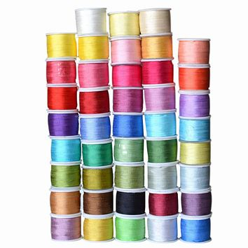 Warm Colors,7 mm 1/4 inch Wide 100% Pure Mulberry Silk Ribbon for Embroidery Handcraft Double Faced Thin Taffeta Silk Trim