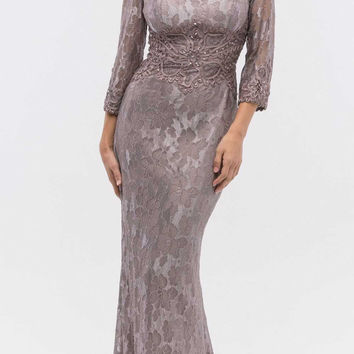 Victorian Lilac Lace Beaded Long Formal Dress with Three Quarter Sleeves