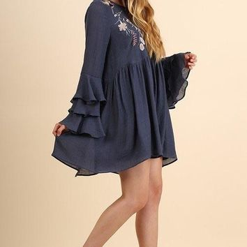 Umgee Dress with Floral Embroidery