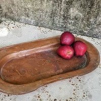 Antique Hand Hammered Rustic Oval Copper Tray