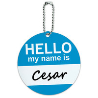 Cesar Hello My Name Is Round ID Card Luggage Tag