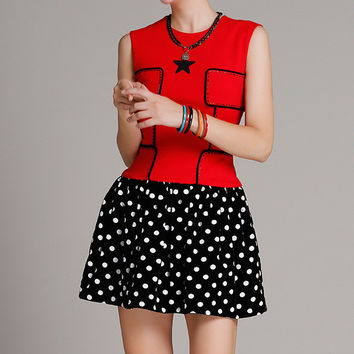 Red and Black Polka Dot Dress