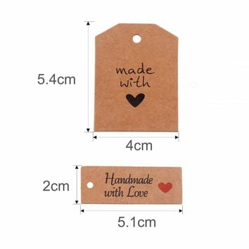 100pcs Hand Made With Love Labels Kraft Paper Tags Wedding Party Favors