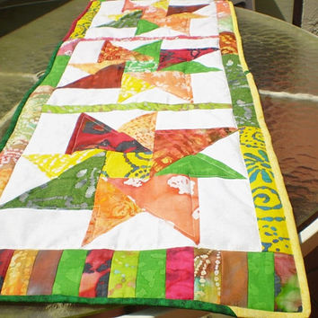 Quilted table runner,batik table topper,batik autumn star table runner,fall,dresser scarf,green yellow,orange,red,brown-Fall Star sensation
