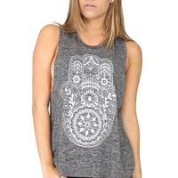 Grey Hamsa Top at Blush Boutique Miami - ShopBlush.com