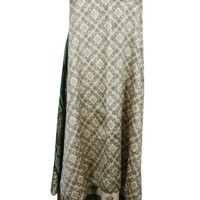 Boho Hippie Gypsy Vintage 2 Layer Skirt Reversible Beige Beach Sarong Dress
