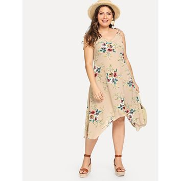 Plus Floral Asymmetrical Hem Strap Dress Khaki