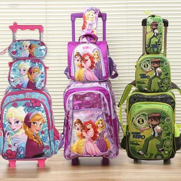 ICIKL3Z new  good quality princes cars children trolly school bag trolley luggage backpack  for boys and girls
