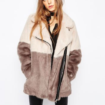Urbancode Faux Fur Colour Block Biker Coat