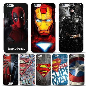 Deadpool Dead pool Taco Marvel Hero Captain America Shield  Superman Case Capinhas For Apple iPhone 8 7 6 6S Plus 5S SE Slim Hard Covers Batman AT_70_6