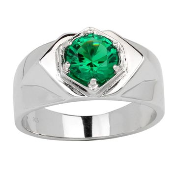 Solid 925 Silver Men Ring 7.5mm Round Green CZ 6-prong Jewelry May Birthstone R515GE