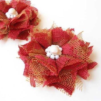 Lace Flower Hair Accessories, Girl Hair Clips, Red Fabric with Pearls, Bridesmaids Hair Pieces, Bridal, Wedding, Brides, Women, Gifts