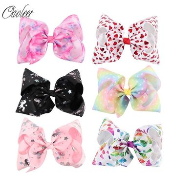 "6pcs/lot 7""Jumbo Hair Bows Printed Hair Bow With Alligator Clip"
