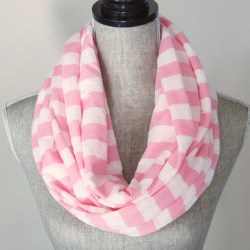 Lace Knit Stripe Pink Cotton Poly Infinity Scarf - Women's Spring and Summer Circle Scarf - Loop Scarf