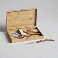 Wood Handle Folding Knives Set of Six