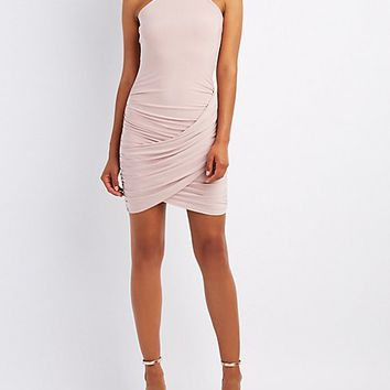 Bib Neck Ruched Wrap Bodycon Dress