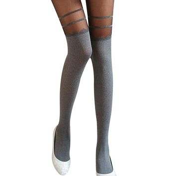 Fashion Women Girls Tights Double Stripe Velvet Stocking Mock Knee High Hosiery Pantyhose Panty Hose Tattoo Tights F25