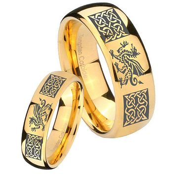 His Her Glossy Dome Multiple Dragon Celtic 14K Gold IP Tungsten Wedding Rings Set