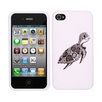 Fincibo (TM) Premium Hard Plastic Snap On Protector Cover Case Front and Back for Apple iPhone 4 4S, Cute Turtle