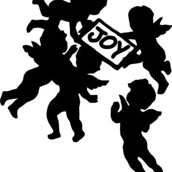 Angel cherubs bringing joy SILHOUETTE Printable Digital download art graphics Image printables cards tags totes t-shirts