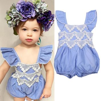 USA Newborn Baby Girl Lace Denim Romper Bodysuit Jumpsuit Outfit Set Clothes wea