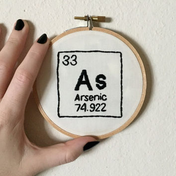 Custom periodic table of elements hand embroidery, 4 inch hoop, choose your element