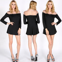 Hot Fashion Sexy Women's Black Lace Party Dress Long Sleeve Slim Sexy Mini Skirt Dress
