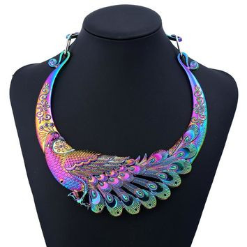 Statement Necklace Retro Carved Peacock Collar Choker Necklace Collier Femme Women Bohemian Ethnic Vintage Animal Chocker