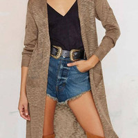 Open Front Cardigan in Camel