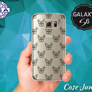 Black French Bulldog Pattern Dog Head Tumblr Cute New Case for Clear Rubber Samsung Galaxy S6 Galaxy S6 Edge Galaxy S7 and S7 Edge