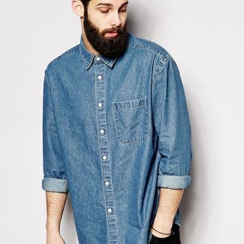 ASOS Denim Shirt In Long Sleeve With Oversized Fit And Vintage Mid Wash