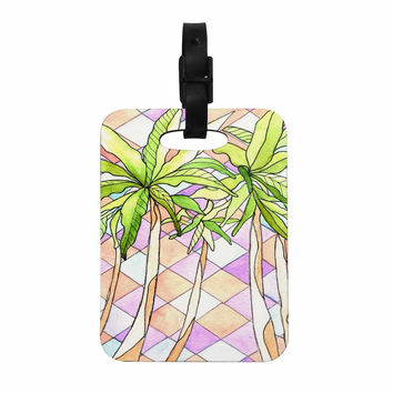 "Rosie Brown ""Geometric Tropic"" Pink Green Decorative Luggage Tag"