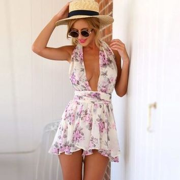 Floral Backless Women's Fashion Summer Romper [6315483265]