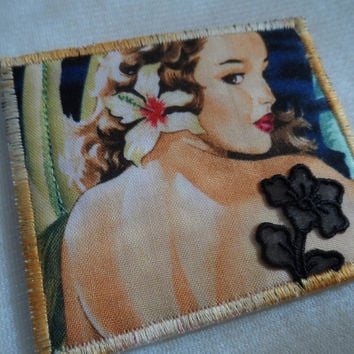 "Quilted Mini Postcard 3.5"" X 3"" - Artist Trading Cards - Handmade Postcard - Miniature Postcard - Fabric Postcard - Applique Postcard"