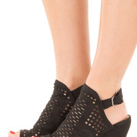 Black Faux Suede Wedge with Cut Out Detail